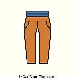 female trouser, filled color outline editable stroke