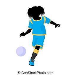Female Tween Soccer Player Illustration Silhouette - Female...