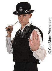 Female UK Police Officer in Ready Stance