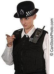 Female UK Police Officer pointing finger