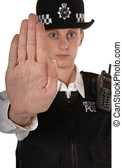Female UK Police Officer saying stop