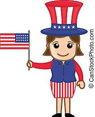 Female Uncle Sam Holding USA Flag