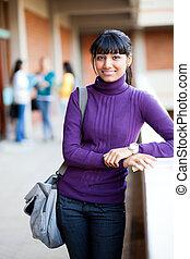 female university student half length portrait