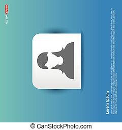 Female User Icon - Blue Sticker button