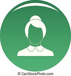 Female user icon vector green