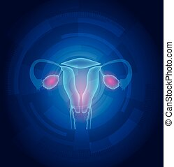 Female uterus abstract blue technology background, treatment...