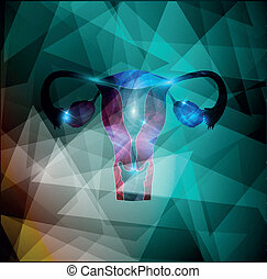 Female uterus and ovaries on a colorful geometric background