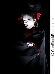 a portrait of a young female vampire