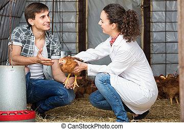 Female veterinarian talking to male farmer