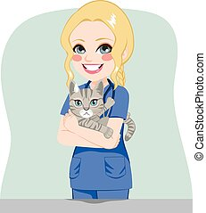 Female Veterinarian With Cat