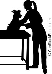 Female Veterinarian with dog silhouette