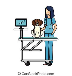 female veterinary with dog in stretcher