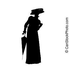 Female Victorian Illustration Silhouette - Female victorian...
