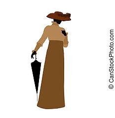 Female Victorian Illustration Silhouette