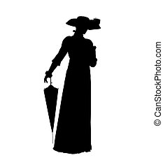 Female Victorian Illustration Silhouette - Female victorian...