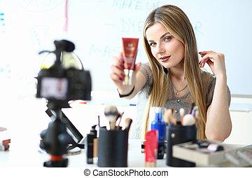 Female Video Blogger Present Brandnew Cosmetics. Blogging ...