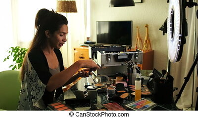 Female video blogger recording video about make-up 4k -...