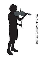 Female violinist isolated on white background. EPS file...