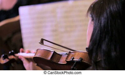 Female Violinist Musician Playing Classical Violin