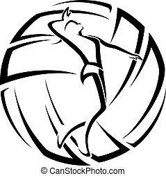 Illustration of a female volleyball player in front of stylized volleyball.