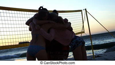 Female volleyball players celebrating their victory 4k - ...