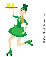 Female Waitress Dressed in St Patri - Two beers sit on tray...