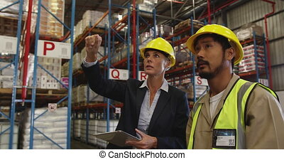 Female warehouse manager and male warehouse worker talking 4k
