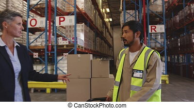 Female warehouse manager and male worker in loading bay 4k...