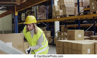 Female warehouse worker loading boxes. - Young female...