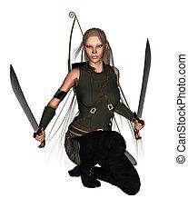 Female Warrior - 2 - Lightly armoured female warrior with...