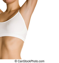Female waxing armpit in a beauty salon. Ideal smooth clear...