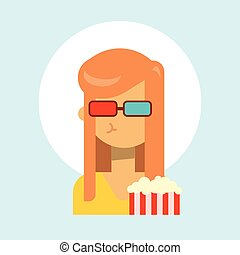 Female Wearing 3d Glasses With Popcorn Emotion Profile Icon, Woman Cartoon Portrait Happy Smiling Face