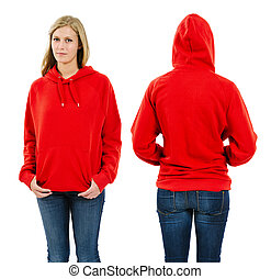 Photo of a teenage female with long blond hair posing with a blank red hoodie. Front and back views ready for your artwork or designs.