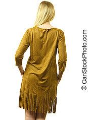 Female wearing casual brown dress