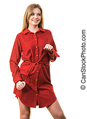 Female wearing casual red dress