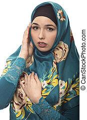 Female Wearing Hijab is Scared