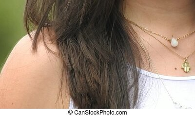 Female Wearing Jewelry Necklaces And Pendants