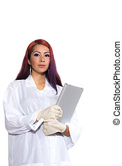 Female Wearing Lab Coat While Holding Clipboard