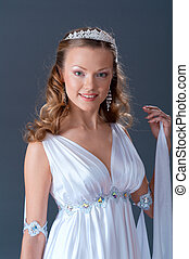 female wearing white dress in antique style  .