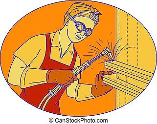 Mono line style illustration of a female welder welding using acetylene welding torch viewed from front set inside oval shape.