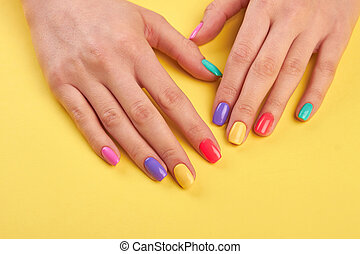 Female well-groomed hands with manicure. Young girl hands...