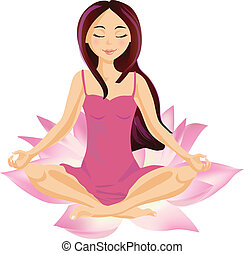 Female Wellbeing - Girl sitting in a lotus relaxing and...