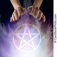 Female Wiccan Spell Casting with Pentacle Symbol - witch's ...