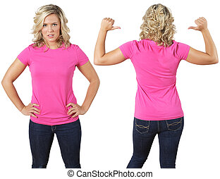 Female with blank pink shirt - Young beautiful female with...