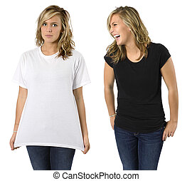 Female with blank shirts - Young beautiful blond female with...