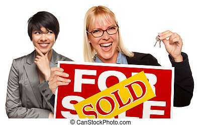 Female with Blonde Woman Holding Keys and Sold For Sale Sign...