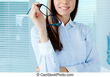 Female with eyeglasses