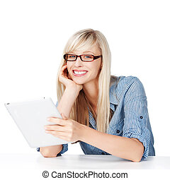 Female with glasses and tablet