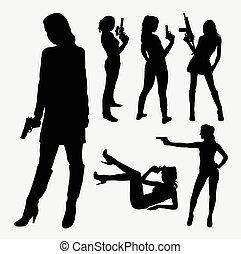 Female with gun silhouettes