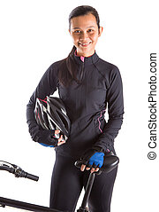 Female With Mountain Bike